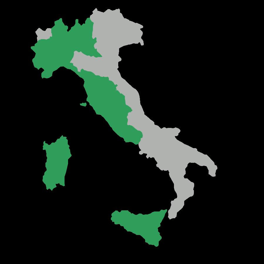 Mappa delle regioni d'Italia dove siamo presenti con i nostri rivenditori di erba sintetica